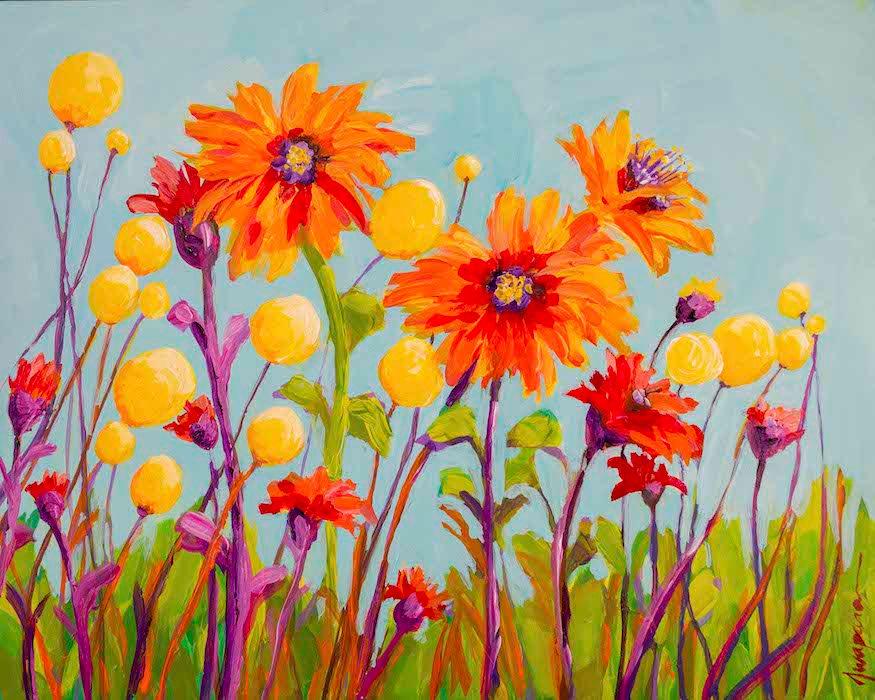 Billy Ball Flower Field Original Painting By Awapara Art