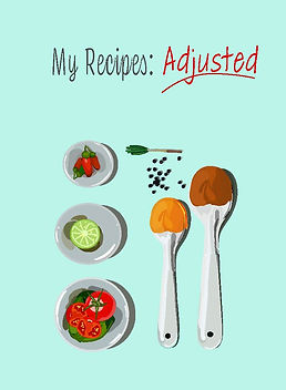 Recipe book with measuring spoons, food, lime, tomatoes, spices