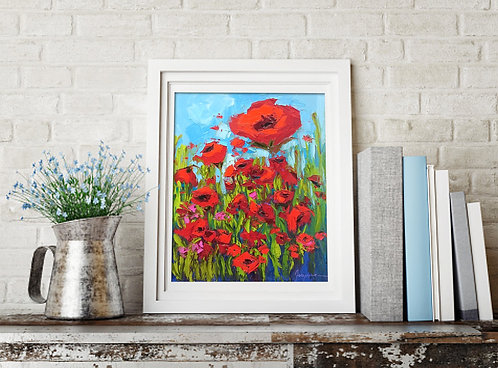 Poppy flower field painting