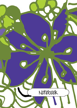 Purple flower, purple green and white notebook, modern design cover