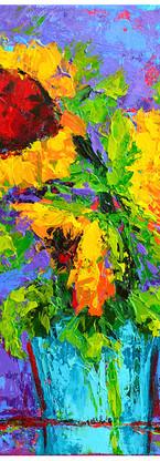 Joyful trio floral still life painting v