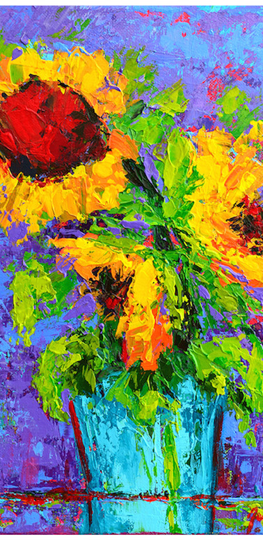 Joyful trio floral still life painting v