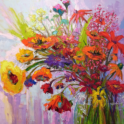 Colorful wildflowers in a vase painting