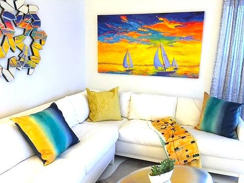 Sailboats seascape painting
