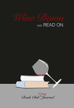 Books, wine glass, reading journal