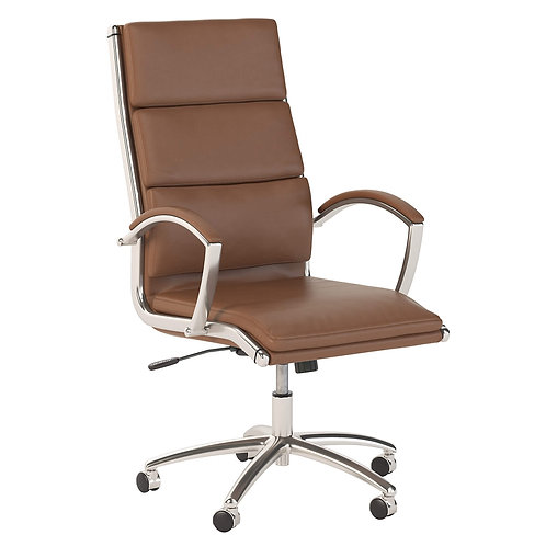 Modelo High Back Leather Executive Office Chair in Saddle Tan