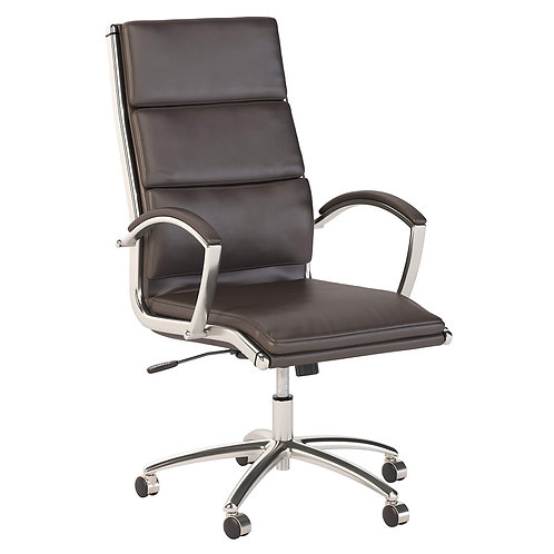 Modelo High Back Leather Executive Office Chair in Brown with Chrome