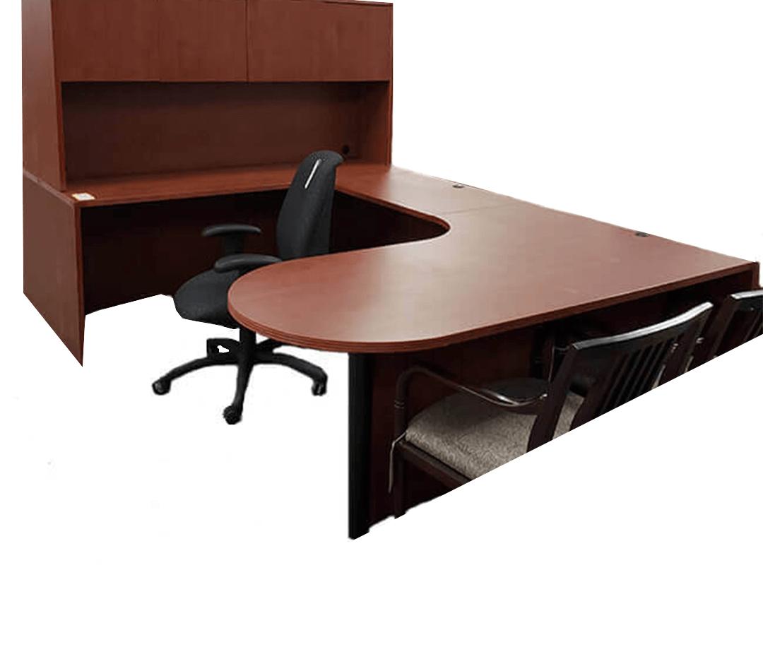 Cherry Desk- U shape with hutch 0305-1