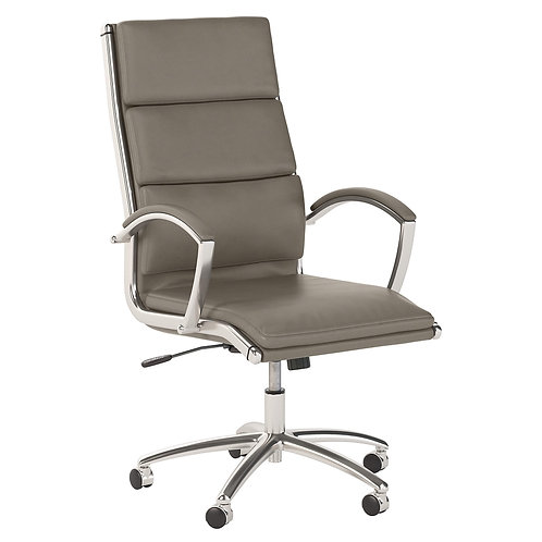 Modelo High Back Leather Executive Office Chair in Washed Gray