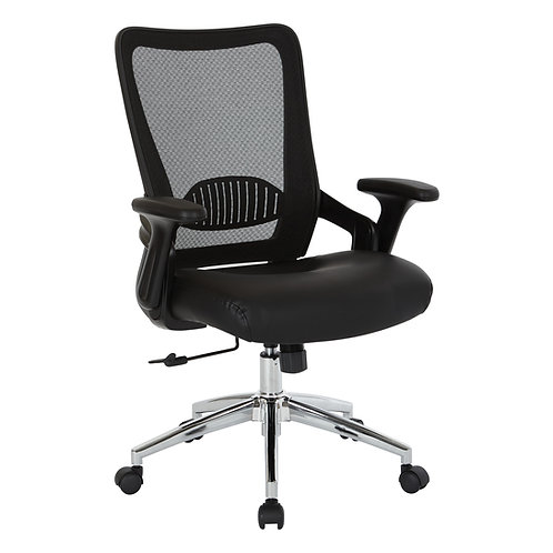 Screen Back & Bonded Leather Seat Chair