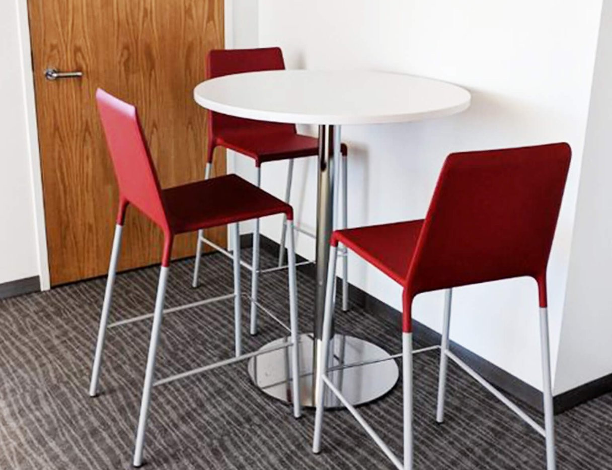 Round Table With Red Chairs Set