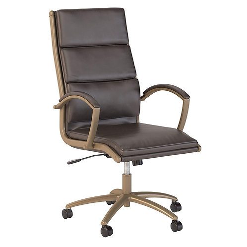 Modelo High Back Leather Executive Office Chair in Brown with Brushed Brass