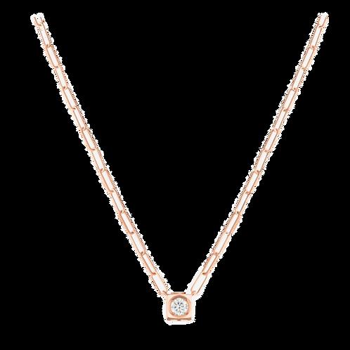 Collier Le Cube Diamant grand modèle or rose et diamant
