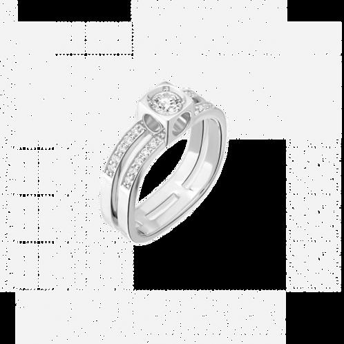 Bague Le Cube Diamant grand modèle pavée or blanc et diamants
