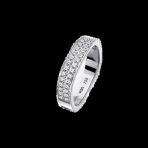Alliance Carrée 4mm demi tour diamants