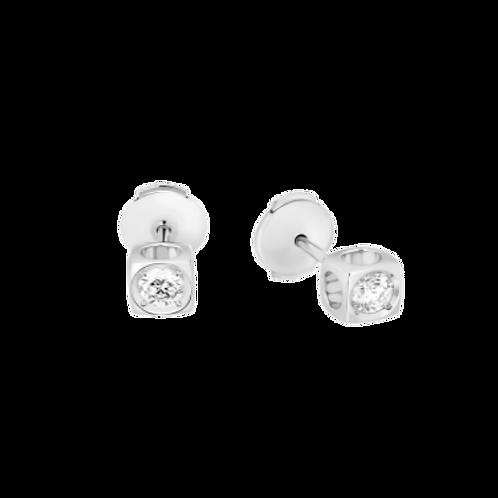 Puces d'oreilles Le Cube Diamant grand modèle or blanc et diamant