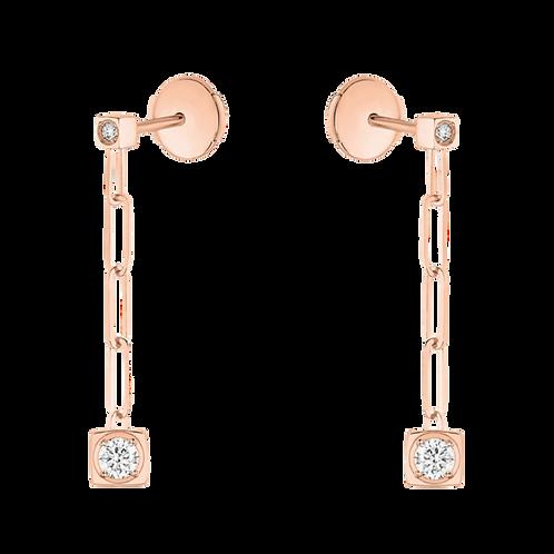 Pendants d'oreilles Le Cube Diamant or rose et diamants