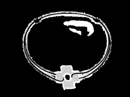 Bracelet sur cordon Croix, or blanc