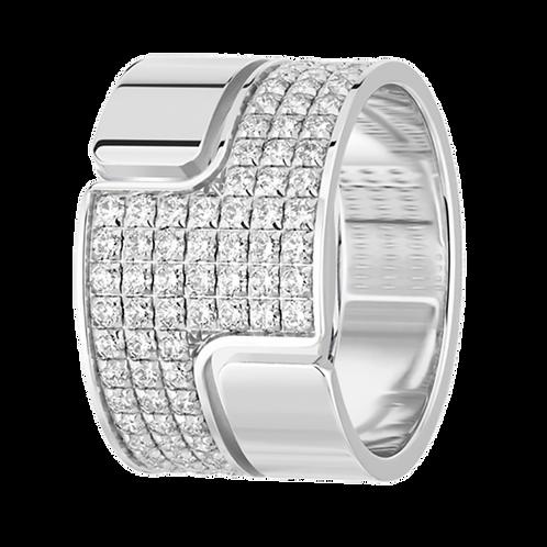 Bague Seventies grand modèle or blanc et diamants