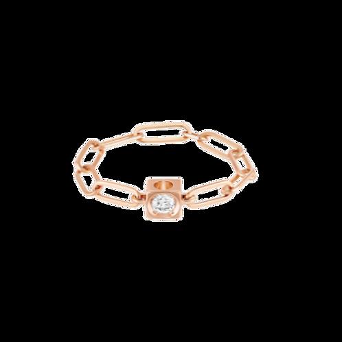 Bague chaîne Le Cube Diamant or rose et diamant