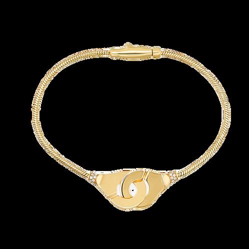 Bracelet Menottes R12 chaîne serpent, or jaune et diamants