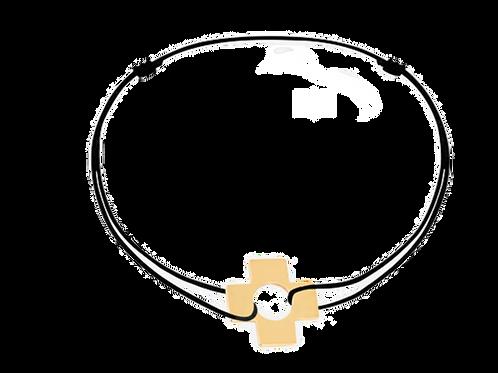 Bracelet sur cordon Croix, or jaune