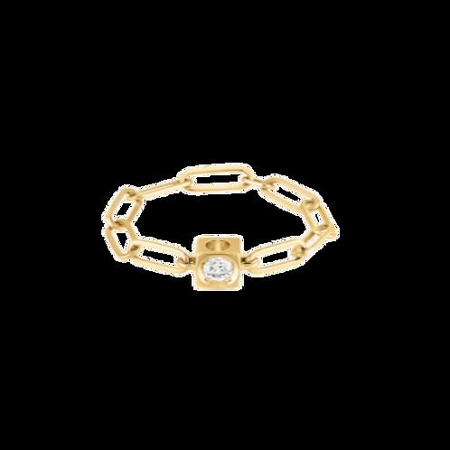 Bague chaîne Le Cube Diamant or jaune et diamant