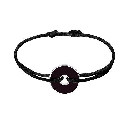 Bracelet sur cordon Pi W&B 18mm dinh van, Argent et Onyx