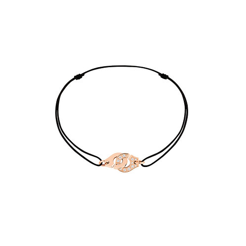 Bracelet sur cordon Menottes R8 dinh van Or rose, diamants