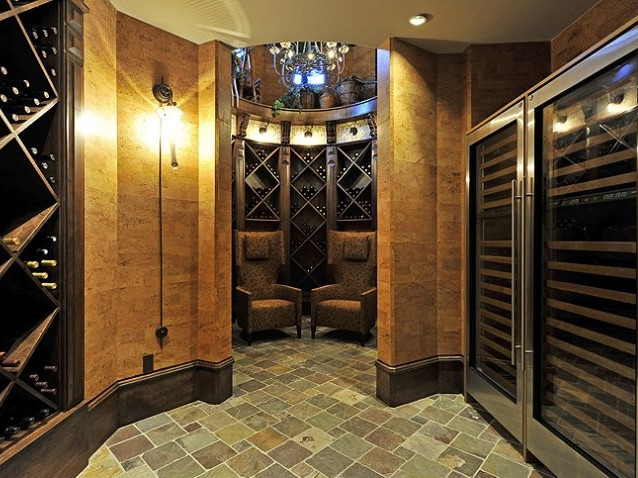 wine room entry with wine coolers at lef