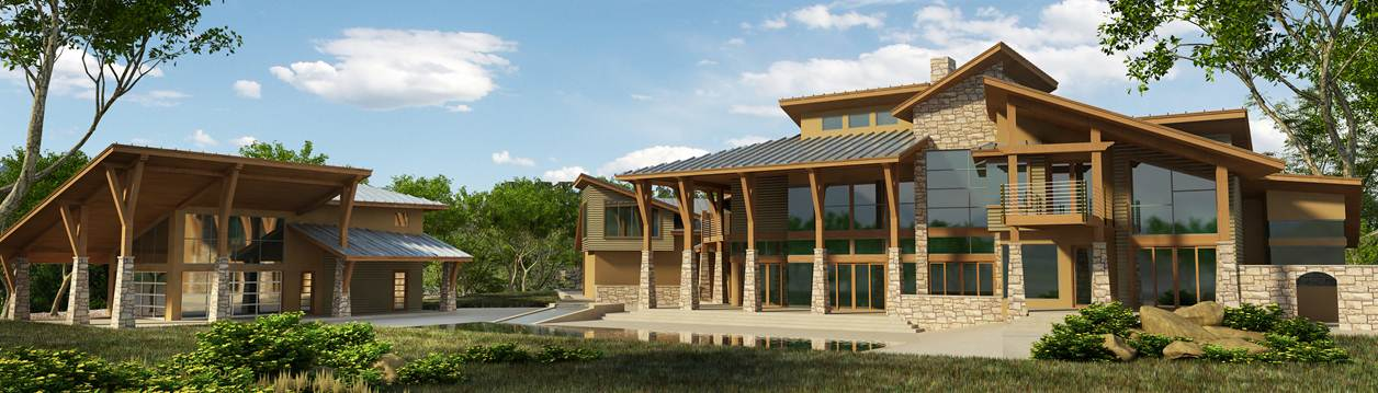 Contemporary lakehouse rear