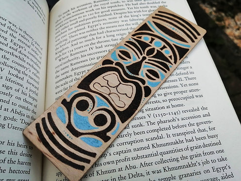 Handmade wooden bookmark - coloured tribal design