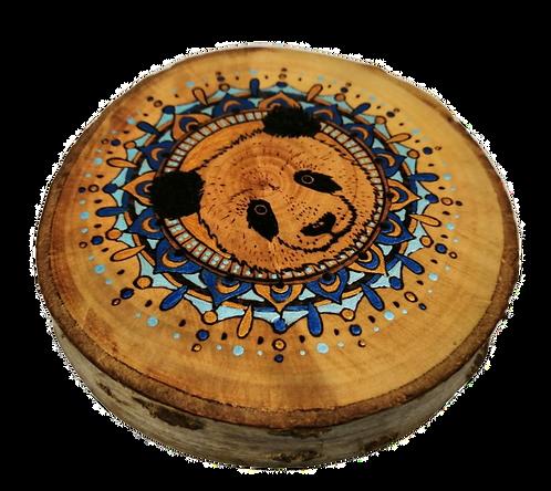 Panda Mandala - Wood Burnt Log Picture with hanger