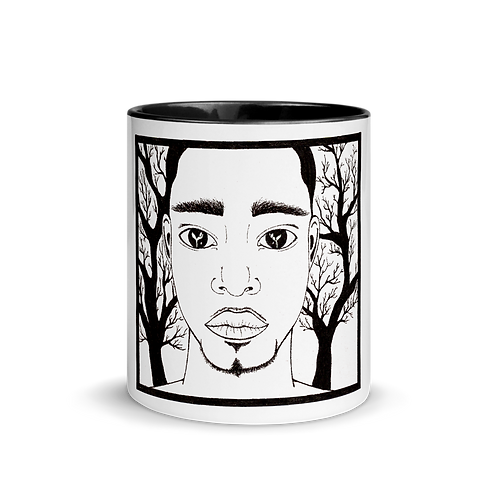 EARTH; 4 elements - Mug with black handle & inside