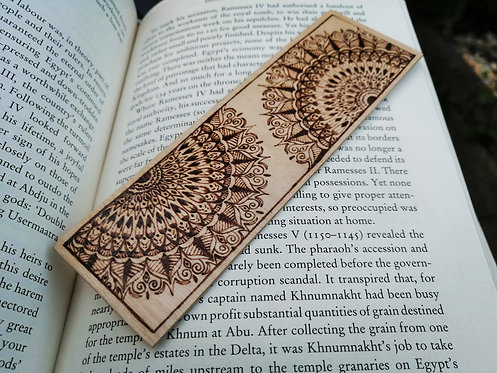Handmade wooden bookmark - mandala design