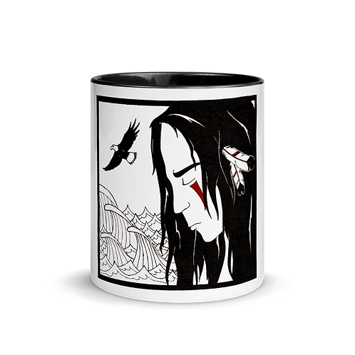 WATER; 4 elements - Mug with black handle & inside