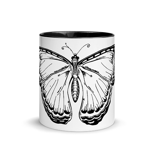 Butterfly - Mug with black handle & inside