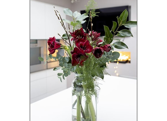Amaryllis Delight with Vase - Red