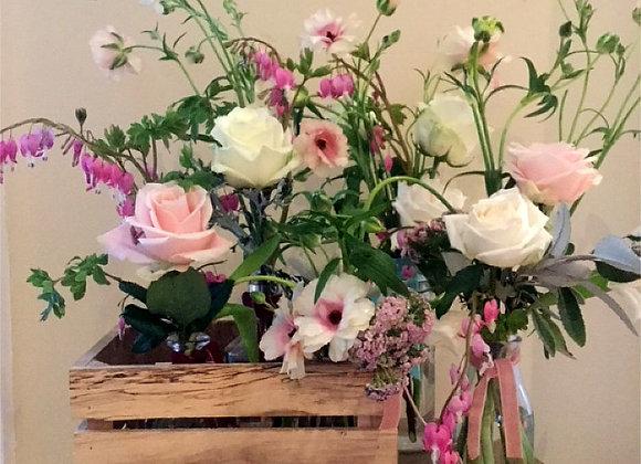 Assorted bottles of my favourite seasonal flowers