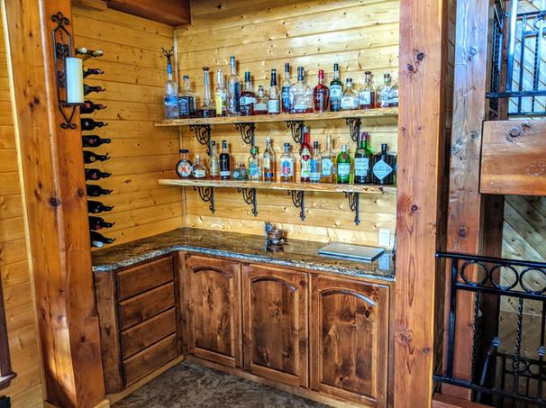 Corner Cabinet and Live Edge Shelves