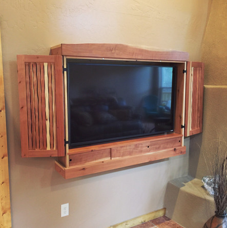 Red Wood Hanging TV Cabinet
