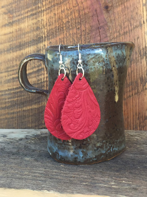 Red Leather Teardrop Earrings