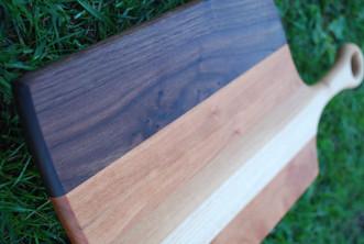Walnut, Oak, Beech, and Cherry Asymetrical Paddle Serving Board