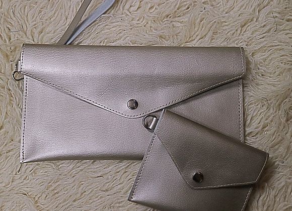 Leather Clutch with card holder - silver