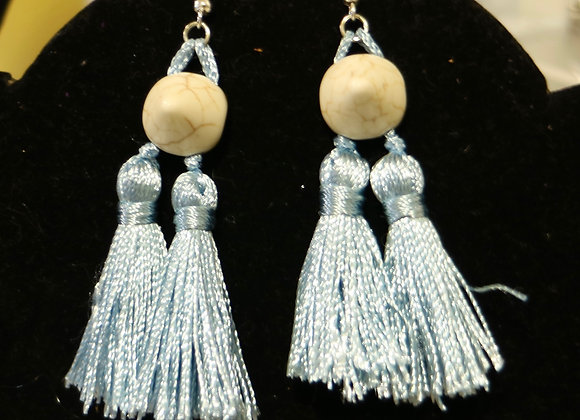 Blue tassels and ivory spike earrings