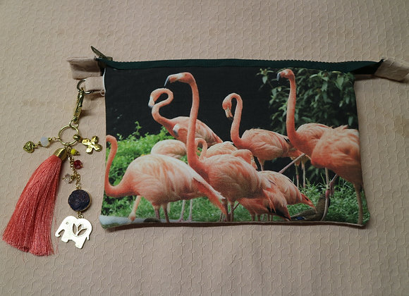 Flamingos Photo on Canvas Clutch