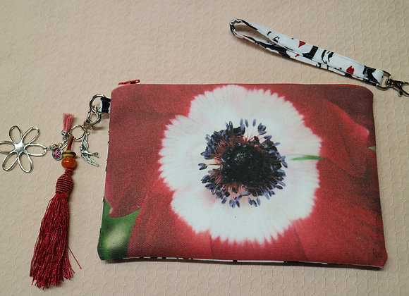 Red and White Poppy Photo on Canvas Clutch