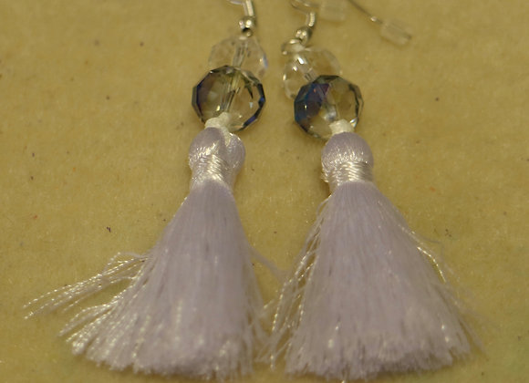 White tassels with glass beads earrings