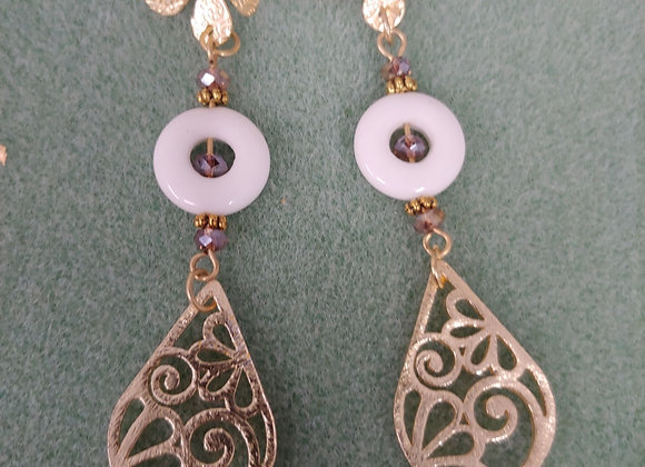 Flower and drops earrings