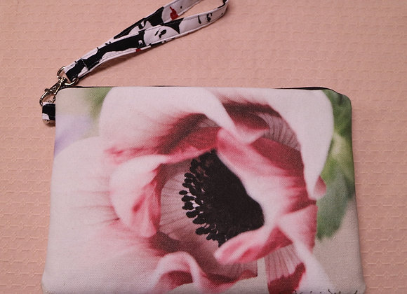 White and Red Poppy Photo on Canvas Clutch